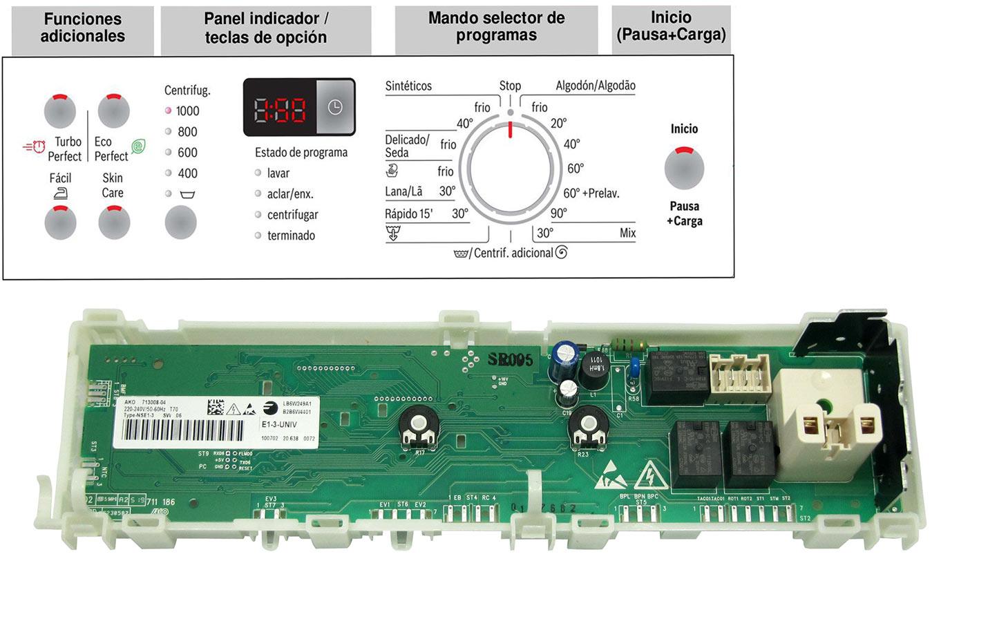 Reparación placa electronica lavadora